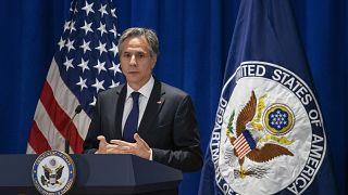 وزير الخارجية الأمريكي أنتوني بلينكن يتحدث على هامش دورة الجمعية العامة للأمم المتحدة في نيويورك. 2021/09/23