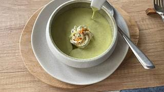 Zucchini velouté (soup) with fresh goat cheese and herbs