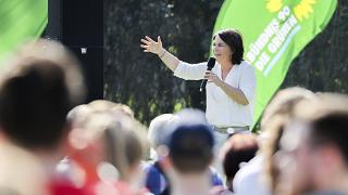 The candidate for chancellor of the German Green party, Annalena Baerbock, speaks during an election campaign event in Halle near Leipzig, Germany, Wednesday, Sept. 8, 2021.