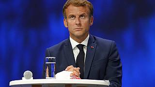French President Emmanuel Macron attends the Sea Economy meeting in Nice, southern France, Tuesday, Sept. 14, 2021.