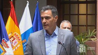 Pedro Sánchez da una conferencia de prensa en La Palma, 24/9/2021, La Palma, España