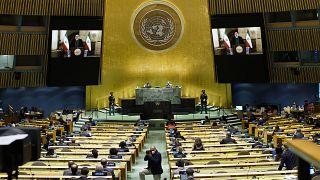 الرئيس الإيراني إبراهيم رئيسي، يلقي كلمة مسجلة مسبقا عبر الفيديو  مخاطبا الجمعية العامة للأمم المتحدة  المنعقدة في نيويورك، الثلاثاء 21 سبتمبر 2021