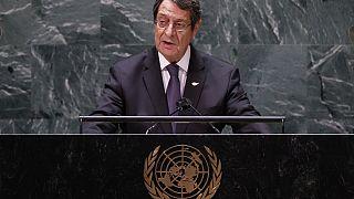 Ο πρόεδρος της Κύπρου Νίκος Αναστασιάδης στο βήμα στη Γεν. Συνέλευσης του ΟΗΕ στη Ν.Υόρκη.