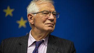 European Union foreign affairs chief Josep Borrell speaks to the press on Monday.