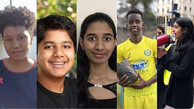 The five finalists of the Children's Climate Prize 2021.