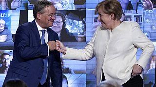 La canciller alemana, Angela Merkel, con el candidato común de la CDU y la CSU, Armin Laschet
