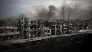 صورة التقطت في 2 تشرين الأول/أكتوبر 2012 لمنطقة سيف الدولة في مدينة حلب شمال سوريا أثناء اندلاع الاشتباكات بين قوات الحكومة وفصائل المعارضة