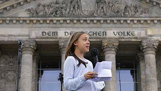 Greta Thunberg in Berlin - die Umweltaktivistin fordert allte zum Wählen auf