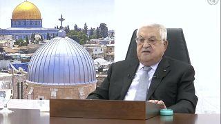 صورة مأخوذة من مقطع فيديو لرئيس السلطة الفلسطينية محمود عباس وهو يلقي كلمة عن بعد في الجلسة 76 للجمعية العامة للأمم المتحدة  الجمعة 24 أيلول/سبتمبر 2021