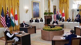 ABD Başkanı Joe Biden, Hindistan Başbakanı Narendra Modi, Avustralya Başbakanı Scott Morrison ve Japonya Başbakanı Suga Yoşihide, Quad liderler zirvesi kapsamında görüştü