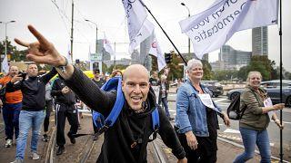 Proteste gegen den sogenannten Gesundheitspass in Den Haag in den Niederlanden
