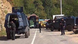 Kosovo police at the border with Serbia