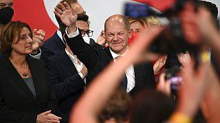 Olaf Scholz im Willy-Brandt-Haus der SPD in Berlin am Wahlabend