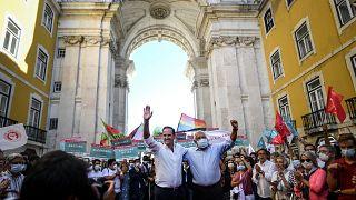 Elections municipales au Portugal : le candidat socialiste actuel maire de Lisbonne et Antonio Costa, premier ministre lors d'un meeting le 24 septembre 2021