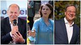 Olaf Scholz, Annalena Baerbock és Armin Laschet a szociáldemokraták, a Zöldek illetve a CDU/CSU listavezetője