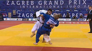 Le judoka russe Arman Adamian, lors de son combat en finale du Grand Prix de Zagreb, le 26 septembre 2021, Croatie