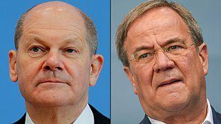 SPD'nin başbakan adayı Olaf Scholz ve CDU/CSU'nun adayı Armin Laschet