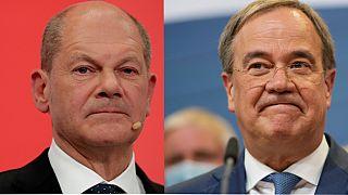 De izquierda a derecha: el socialdemócrata Olaf Scholz y el conservador Armin Laschet.