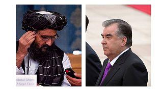 امانعلی رحمان، رئیس جمهور تاجیکستان و ملا عبدالغنی برادر، معاون نخست وزیر دولت موقت طالبان