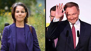 """Annalena Baerbock (Verdes) e Christian Lindner (SPD) """"têm"""" o poder nas mãos"""