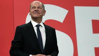 Olaf Scholz német alkancellár, pénzügyminiszter a választás éjszakáján