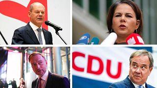 De haut en bas, de gauche à droite : Olaf Scholz (SPD), Annalena Baerbock (les Verts), Christian Lindner (libéraux), Armin Laschet (CDU)