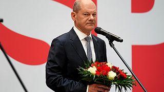 أولاف شولتس ، الحزب الاشتراكي الديمقراطي في مقر الحزب في برلين، ألمانيا.
