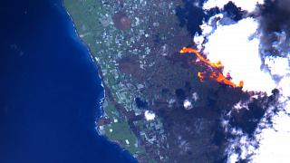 La Palma volcanic eruption as seen by the Sentinel 2 satellite of the European Copernicus network