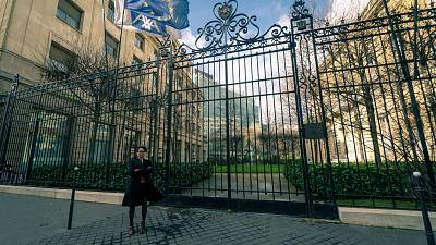 2020 Goldman Environmental Prize winner Lucie Pinson outside of French multinational insurance firm Axa.