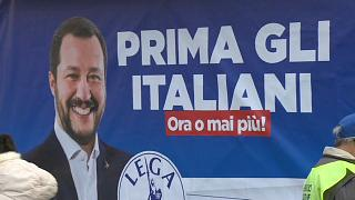 A poster of Matteo Salvini is pictured at a Lega rally in February 2018.