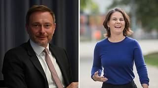 FDP leader Christian Lindner (left) and Greens leader Annalena Baerbock (right) are likely kingmakers in the German election.