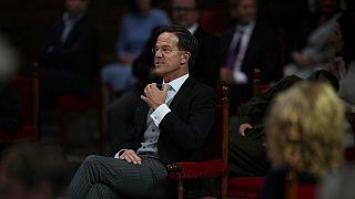 Dutch Prime Minister Mark Rutte in The Hague, Netherlands, Tuesday, Sept. 21, 2021. (AP Photo/Peter Dejong)