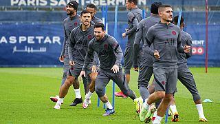 Les joueurs du PSG à l'entraînement, le 27 septembre 2021, Saint Germain en Laye, France