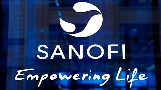 The logo of French drug maker Sanofi is picture at the company's headquarters, in Paris.