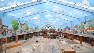 Installation of Schottenhamel tent ahead of the Oktoberfest in Munich, Germany, August 29, 2019.