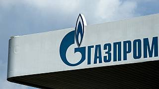 The logo of Russia's energy giant Gazprom is pictured at one of its petrol stations in Moscow on April 16, 2021.