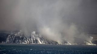 Lava reaching the Atlantic Ocean off the Canary Islands.