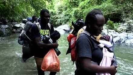 Haitian migrants cross Colombian jungle en route to US