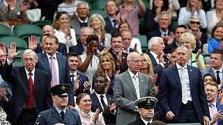 1966 world cup winners, from left, Gordon Banks, Roger Hunt, Sir Bobby Charlton and Sir Geoff Hurst receive applause as they take their seats in the Royal Box during day six o