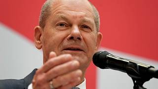 Olaf Scholz, top candidate for chancellor of the Social Democratic Party (SPD) speaks during a press conference at the party's headquarters in Berlin, Sept 27, 2021.