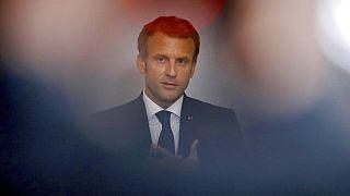 French President Emmanuel Macron in Paris, Tuesday, Sept. 28, 2021 Gonzalo Fuentes/Pool Photo via AP)