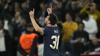 Lionel Messi après avoir marqué le but du 2 à 0 pour le PSG contre Manchester City en Ligue des champions, le 28 septembre 2021 au Parc des Princes