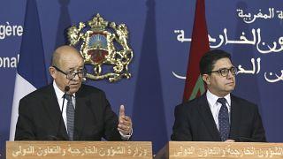 وزير الخارجية الفرنسي جان إيف لودريان ونظيره المغربي ناصر بوريطة في الرباط بالمغرب - الاثنين 9 أكتوبر 2017.