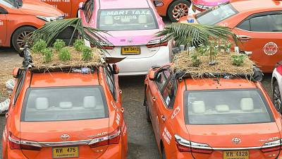 Abandoned taxi cabs in Bangkok