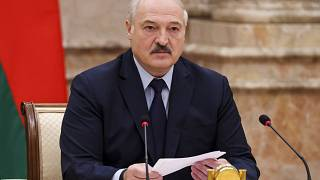 Belarusian President Alexander Lukashenko speaks during an expanded meeting of the Constitutional Commission in Minsk.