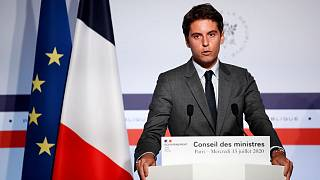 French Government's spokesperson Gabriel Attal delivers a speech at the Elysee Palace.