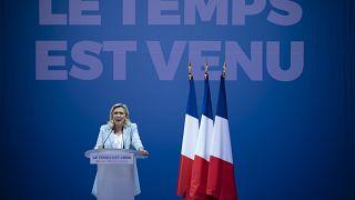 مارين لوبان تلقي كلمة في التجمع الوطني في فريوس، فرنسا