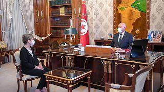الرئيس التونسي قيس سعيّد الأربعاء رفقة نجلاء بودن المكلفة بتشكيل الحكومة.