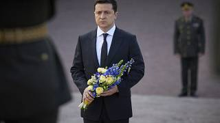 Ukrainian President Volodymyr Zelenskyy attended the ceremony in Kyiv.