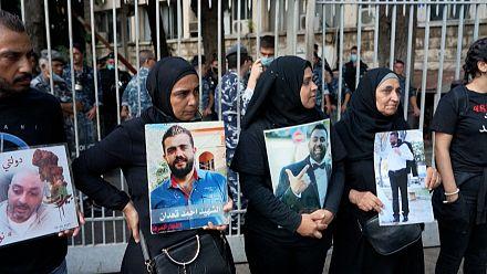 Families protest suspension of Lebanon blast probe